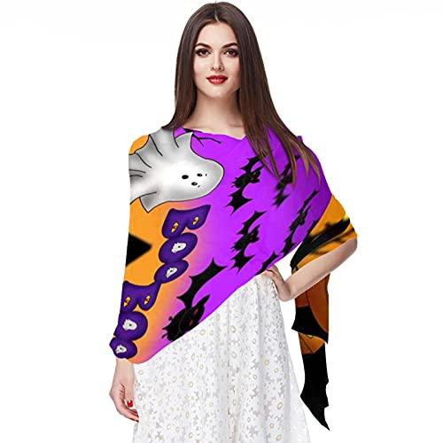 WJJSXKA Bufandas de gasa Mantón de mujer Bufandas envueltas para primavera verano, linternas de calabaza de noche de Halloween