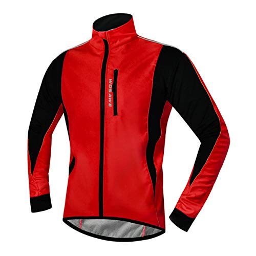 YOJOLO Chaqueta Ciclismo Hombre Soft Shell Chaqueta Bicicleta Invierno Polar Térmico Maillot De Ciclismo Resistente Al Viento Impermeable Reflectante Abrigo para Ciclismo Ropa De MTB,Rojo,L