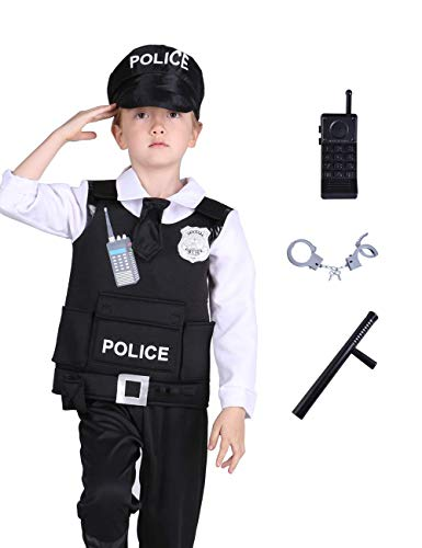 Familus Police Officer Costume Set for Kids Policeman Role Play with Deluxe Cop Accessory Gift 7-8T