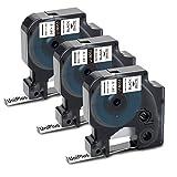 UniPlus Heat Shrink Tube compatible para Dymo Rhino 18053 S0718280 Etiquetas Industriales 9 mm x 1,5 m Negro sobre Blanco para DYMO Rhino 4200,5000,5200,6000, Pack de 3