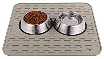LuxPal Extra Large 23x17 Premium Grade Silicone Dog & Cat Indoor or Outdoor Food Mat for Pets and Animals None Slip Food Tray Placemat for All Floors Washable Food Grade  Brown