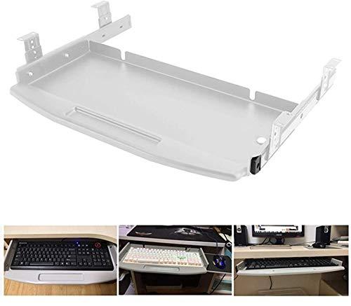 Cajón para teclado retráctil con deslizadores con cojinetes de bolas y ranura para bolígrafo en la bandeja del teclado debajo del escritorio, ideal para aumentar la comodidad y el espacio útil
