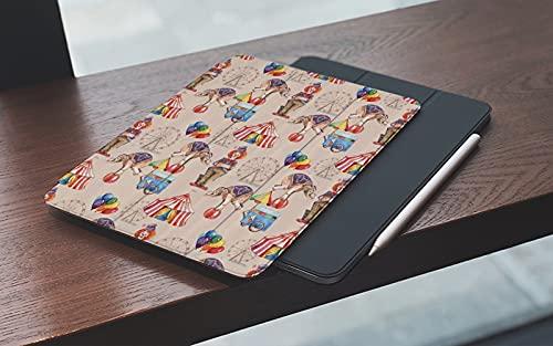 Funda para iPad 10.2 Pulgadas,2019/2020 Modelo, 7ª / 8ª generación,Rueda de la fortuna infantil acuarela arte de circo carpa elefante payaso y globos Smart Leather Stand Cover with Auto Wake/Sleep