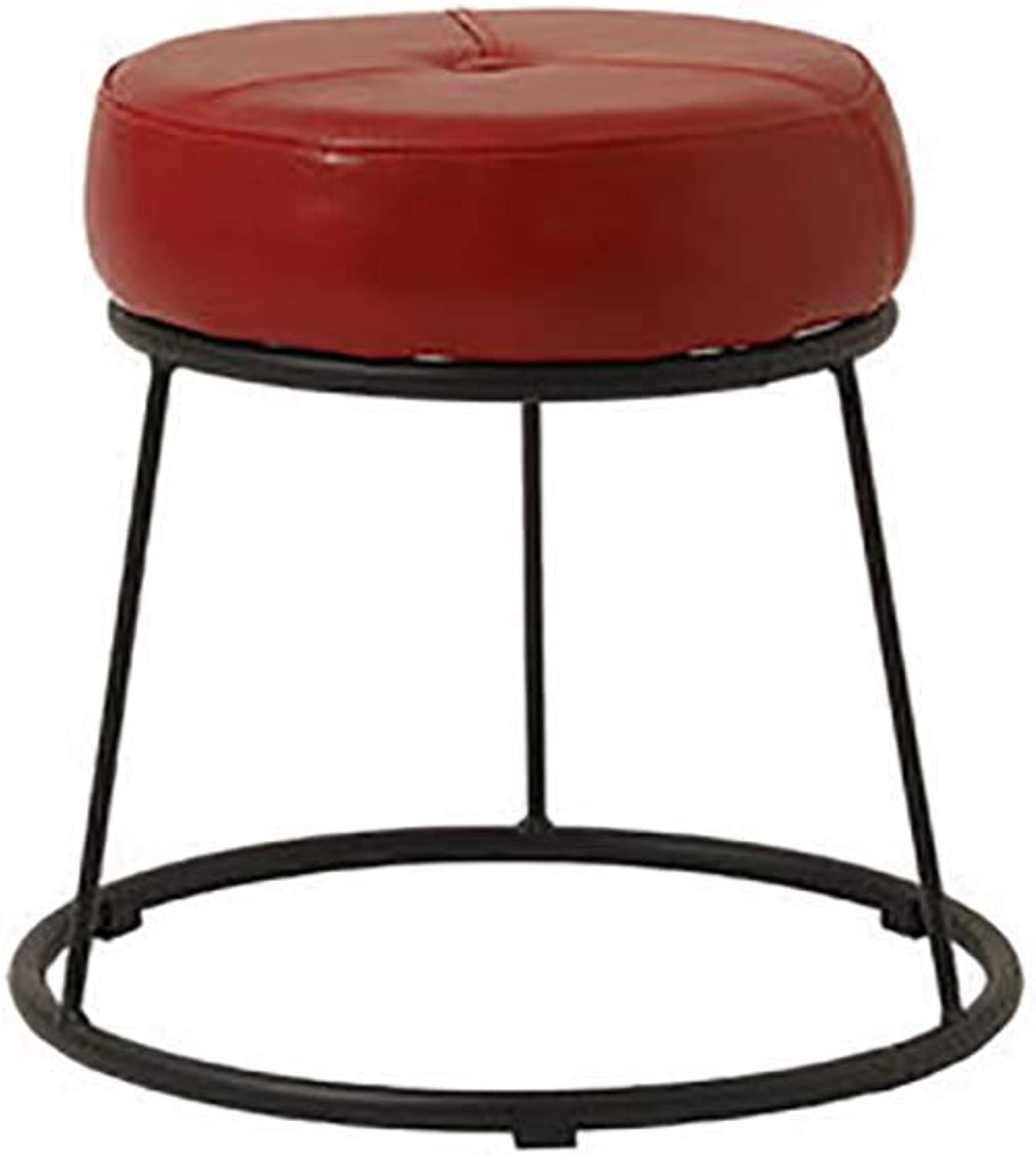 Iron Frame Leather Stool, Creative Stackable Small Bench Sofa Home Simple Modern Dining Table Makeup Footstool-red 28.5x36cm