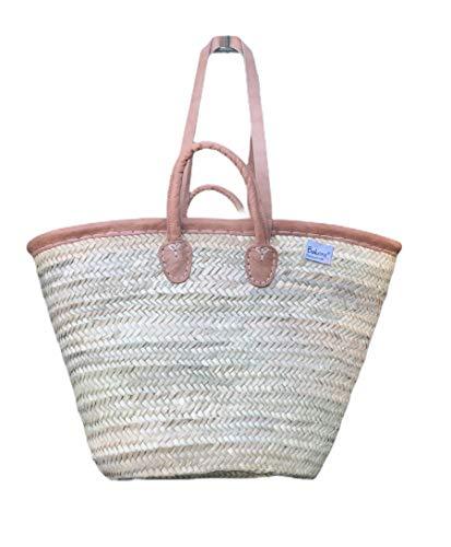 Original Bukora® Ibiza Palmblatt Tasche mit Lederrand und Doppelgriff-kurzer und Langer Henkel