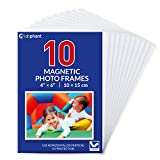 labphant 10 Pack 4x6 Inch Magnetic Picture Frames; Photo Pocket Frames with White Borders for Fridge 4 x 6 Inch Great for Displaying Pics on The Refrigerator (White)