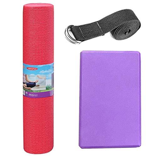 Pack de Esterilla para Yoga (173 x 61 x 0,4cm) COLOR ROJO + Bloque de Yoga (23 x 9 x 15cm) de goma ESPUMA EVA MORADO + CINTURON DE YOGA (180cm, color aleatorio). Alta densidad/antideslizante.