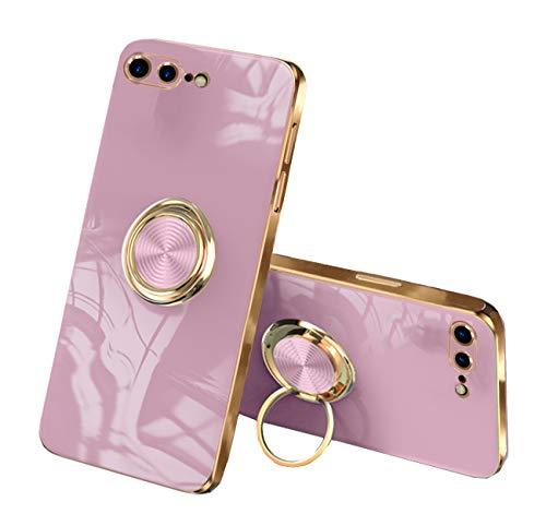 通用 Funda para iPhone 7 Plus/8 Plus Apple,Fundas iPhone 7 Plus/8 Plus Silicona TPU Compatible Case Soporte Armor Antigolpes Carcasa con Posterior Magnético Iman (iPhone 7 Plus, Rosado)