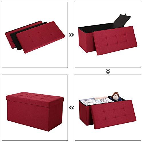 SONGMICS Sitzbank mit Stauraum, Truhe mit Deckel, faltbares Sitzmöbel, Bett, Schlafzimmer, Flur, platzsparend, 80L Fassungsvermögen, stabil bis 300 kg, gepolstert, rot LSF47RD - 6