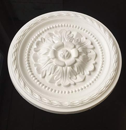 2 Stück Deckenrosetten HPS08, weiß, Ø 30 cm, aus Styropor, Stuck, Wandrosette
