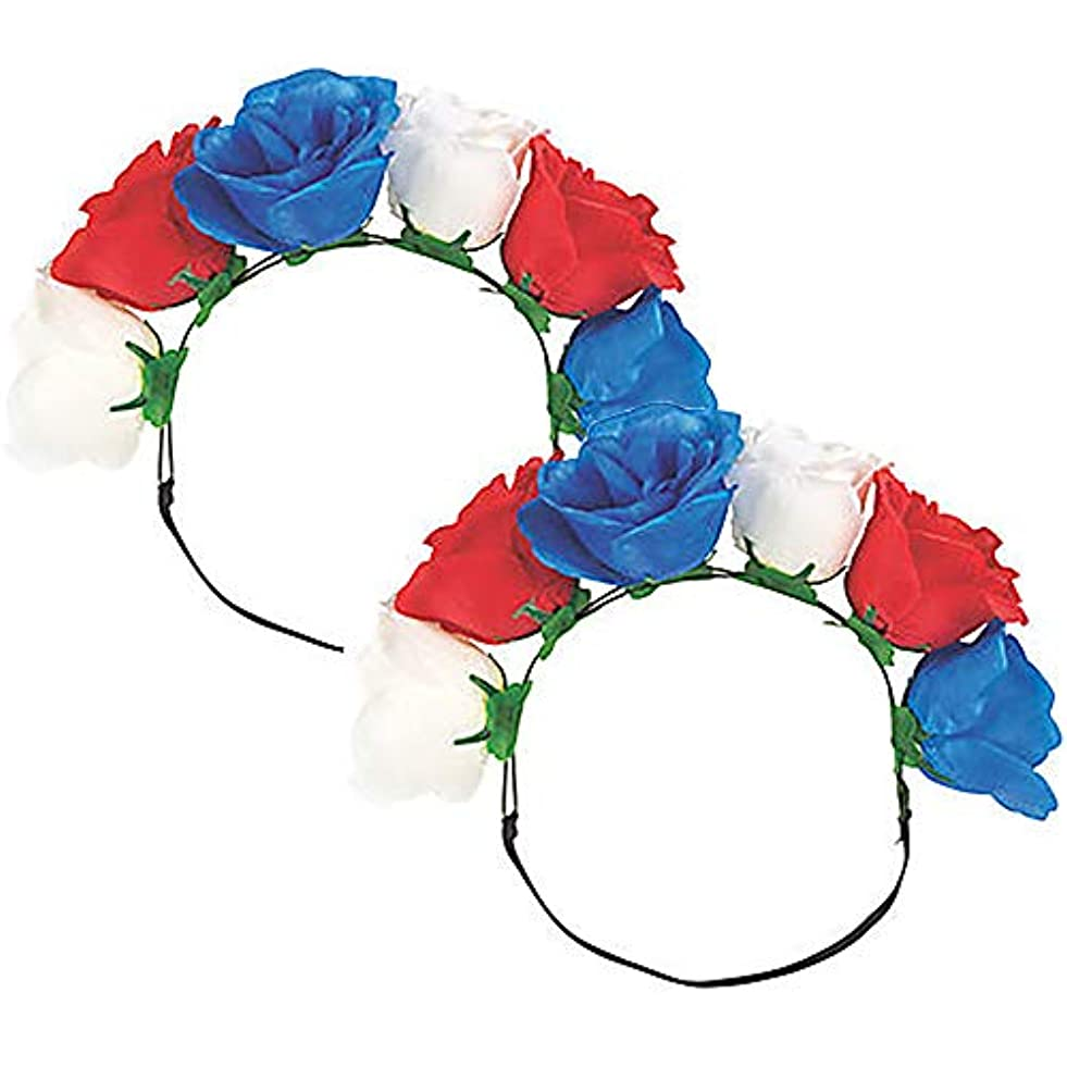 Red, White & Blue Floral Headband, Plastic with Elastic Band and Polyester Flowers - 10