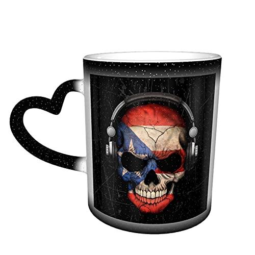 maichengxuan Taza de café unisex de viaje con diseño de calavera puertorriqueña Dj personalizada sensible al calor color cambiante taza de té de leche tazas de café mágicas