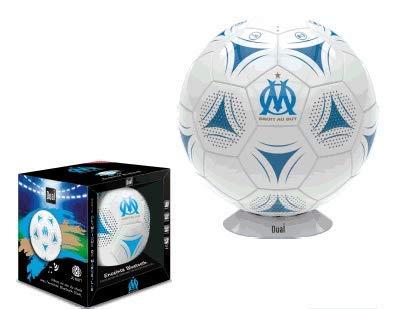 Enceinte Portable Bluetooth - Ballon de Foot Om - Olympique DE Marseille - Revêtement Cuir Synthetique - Taille 18 cm - Socle Inclus - Puissance 20 W