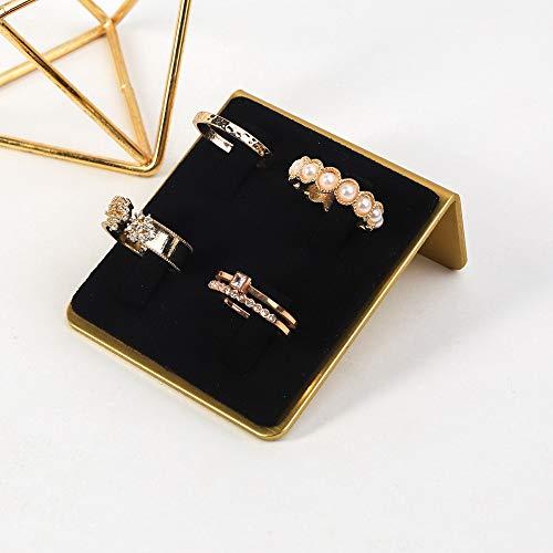GemeShou Anillo de joyería Exhibición de anillo de terciopelo negro Clip fijar anillo titular Boutiques Mostrar exhibición【Anillo de terciopelo Junta Negro 】