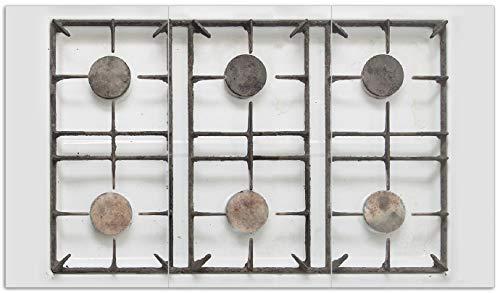 Wallario Herdabdeckplatte/Spritzschutz aus Glas, 3-teilig, 90x52cm, für Ceran- und Induktionsherde, Alter Gasherd, ungeputzt und dreckig