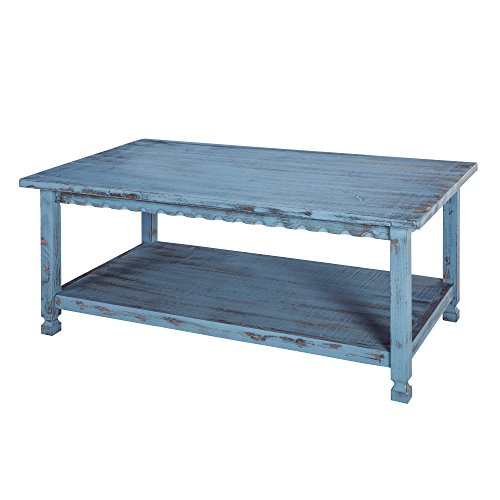 Rustic Rectangluar Coffee Table with 1 Shelf, Blue Antique