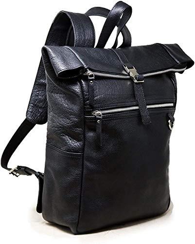 Mochila de cuero de 18 pulgadas, para portátil, resistente al agua, bolsa de libros universitarios, cómoda, ligera, para viajes, senderismo, picnic, color negro