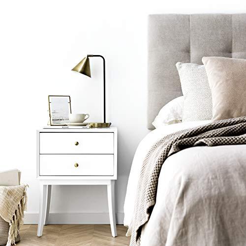 Kenay Home-Mesita De Noche Dormitorio Blanca 2 Cajones Mesilla Cama Habitación Classic, 45x35x60cm (WxDxH)