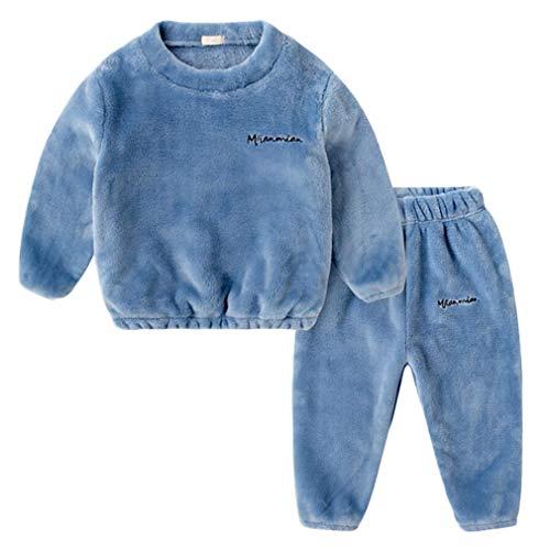 DEBAIJIA Bebé Ropa de Casa 2-12T Infantil Homewear Niños Pijama Niña Ropa de Dormir Niño Camisones Franela Calentar Invierno (Azul-150)