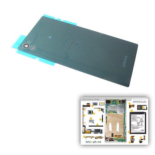 Vetro Posteriore Verde di origine con logo per Sony Xperia Z5/Z5Dual per i modelli E6603/E6653/E6633/E6683con cartamodello carta di aiuto montaggio in OMAGGIO
