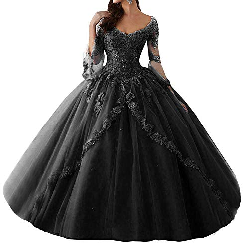 MEILISAY Women's Beaded V Neck Quinceanera Gowns Long Lace Appliques Prom Party Gowns with Long Sleeve M003