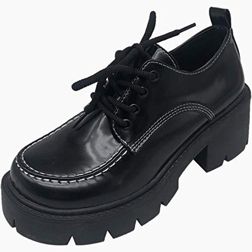 Zapatos Gruesos para Mujer, Punta Redonda de Fondo Suave, Exterior, Primavera, otoño, Oxford, Resistente al Desgaste, para Caminar, Zapatos de cuña con Cordones