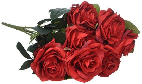 Flores Rosas de tela Rojo 10 cabeza SOLEDI seda flores artificiales ar