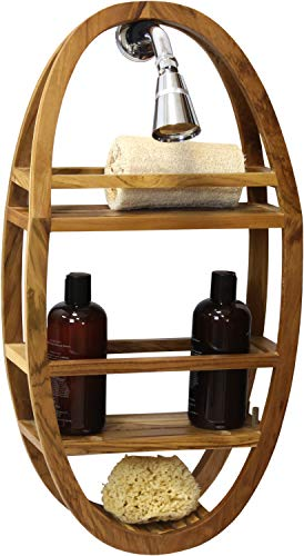 AquaTeak Patented Moa Shield Oval Teak Shower Organizer