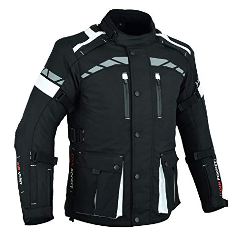 MOTORCYCLE MOTORBIKE ARMOURED MENS WITH PROTECTORS CORDURA WATERPROOF 3/4 JACKET BLACK/WHITE CJ-9496 (L)