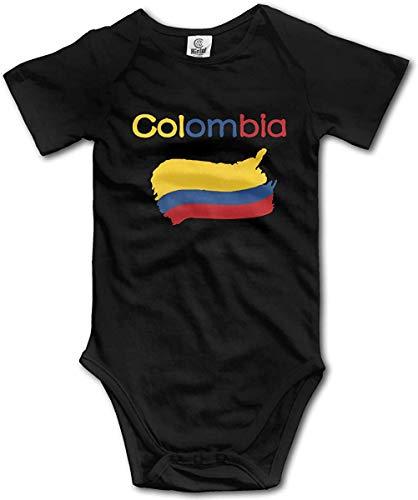 WlQshop Mono para Bebé,Mameluco Bebé Unisex Colombia Flag Newborn Baby Boys Clothing Short Sleeve Gentleman Bodies