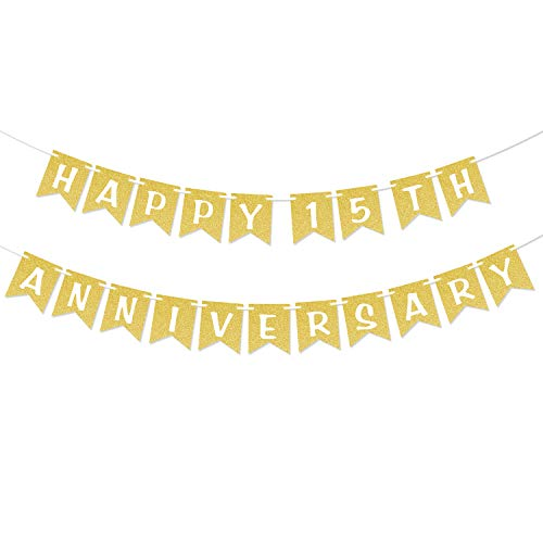 Happy 15th Anniversary Gold Glitter Banner 15 Anniversary Wedding Party Decorations Fifteenth Celebration Party Hanging Sign Photo Booth Props