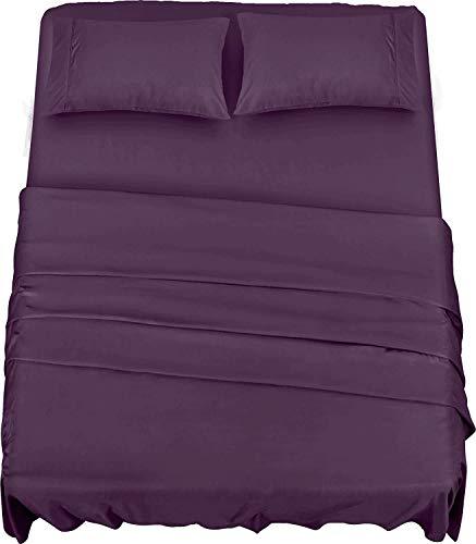 Utopia Bedding Juego Sábanas de Cama - Microfibra Cepillada - Sábanas y Fundas de Almohada (Cama 135, Púrpura)