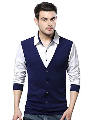EYEBOGLER Men's Solid Regular fit T-Shirt (T16_Navy Blue XL)