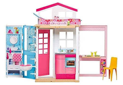 Barbie- Casa a 2 Piani con Bambola e Tanti Accessori, Giocattolo per Bambini 3+ Anni, DVV48