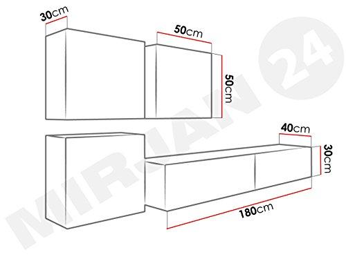 Wohnwand – Set mit Anbauwand in weiß mit Hängeschrank Bild 4*