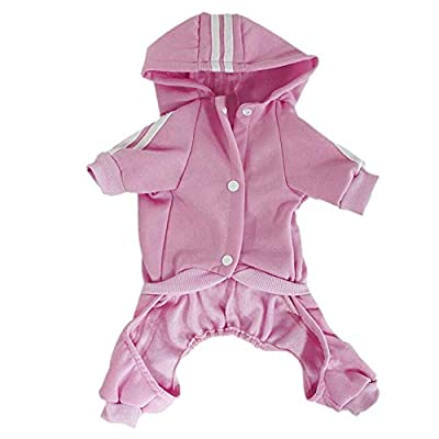 Tribones Pet Clothes Clothing Hoodie Coat Sweater Jacket Shirt Outfit Winter Costume 4-Legs Jumpsuit for Small or Medium Pet Dog Puppy Boy or Girl (S (Bust<35cm, Weight<2.0kg), Pink)