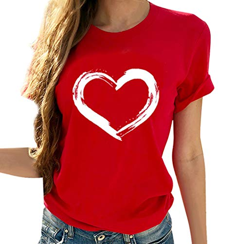 SSDXY Women Classic Heart-Shaped Print Short Sleeves Crew Neck Slim Fit Tops Tunic Blouse T-Shirt Red