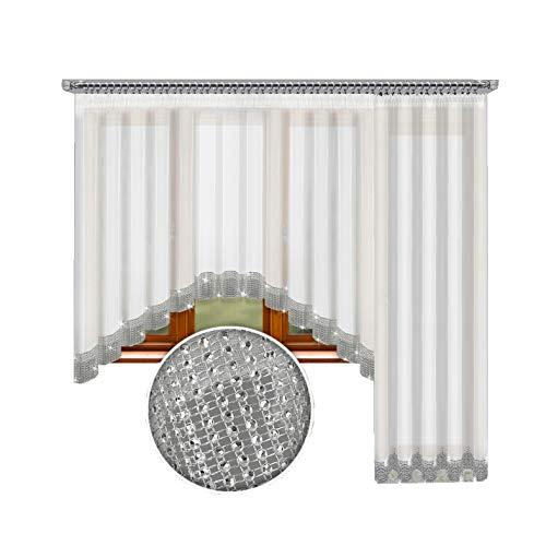 Inox Trade Fertiggardine Gardine 545x250 cm Balkon Vorhang Voile mit Zirkonia Silber Band