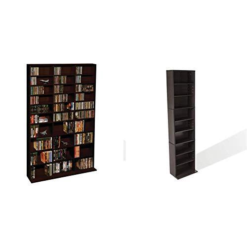 Holds 261CD PN64835195 114DV Atlantic Summit Adjustable Media Cabinet 130 CD or 90 DVD//BluRay//Games in Clear Smoke Finish 132 Blu-Ray//Games PN74735727 in Espresso /& Mitsu 5-Tier Media Rack
