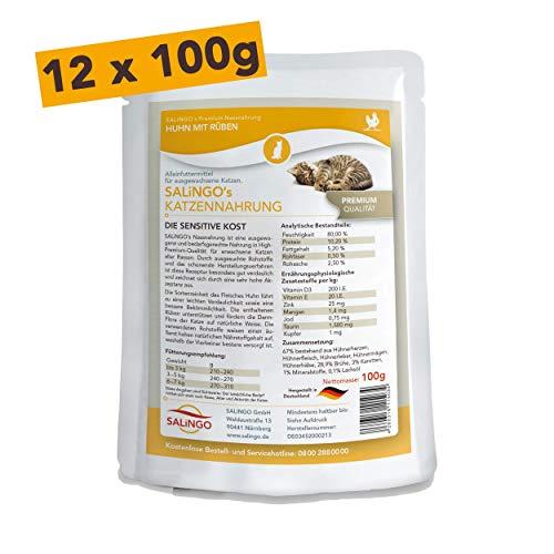 SALiNGO Katzenfutter nass | Huhn und Rüben | getreidefrei | ohne Zucker | 12x100g