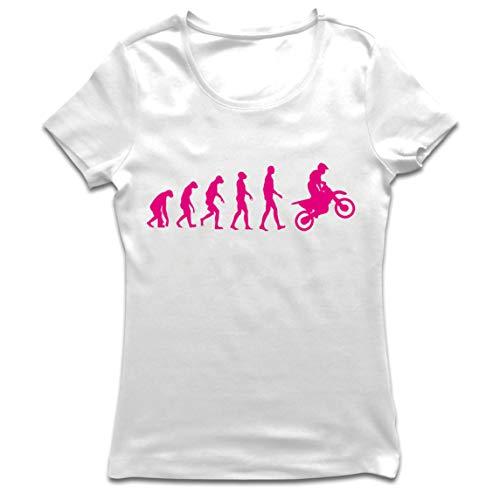 lepni.me Frauen T-Shirt Motocross-Evolution Dirtbike-Motorradausrüstung Offroad-Rennbekleidung (Medium Weiß Magenta)