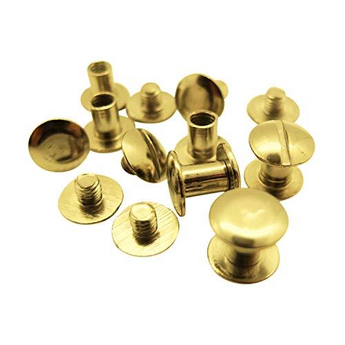 50 Stück - Buchschrauben - 7 mm Höhe (vermessingt / gold, Ø Kopf: 10 mm, Ø Schaft: 5 mm)