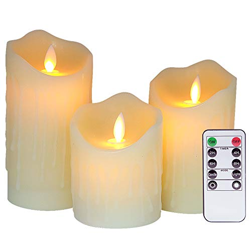 Eldnacele Flameless Flickering LED Battery Operated Real Wax Candles with Remote and Timer, Dancing Flame Moving Wick Dripping Effect for Decoration Set of 3