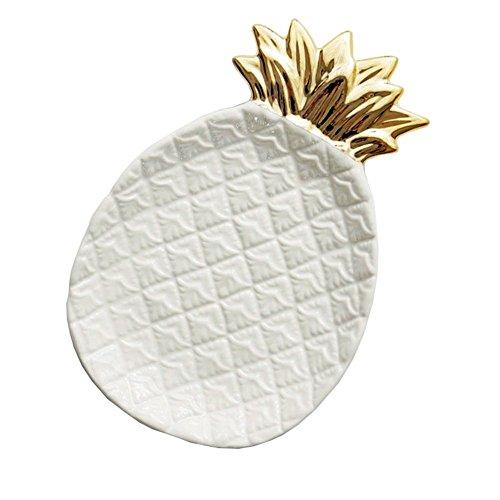 TOOGOO Bandeja de almacenamiento de pina de ceramica Joyas de pina Pallet Food Pallet Dry Fruit Plate Decoracion del hogar Plate blanco