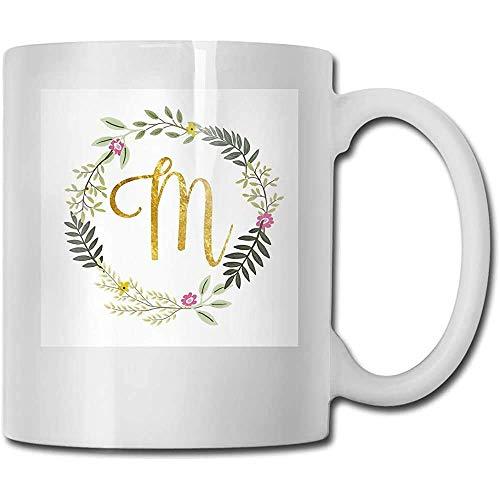 Taza de regalo de café y té Floral y oro Monograma inicial M Taza de cerámica El mejor regalo para la familia, amigo, maestro 11 oz