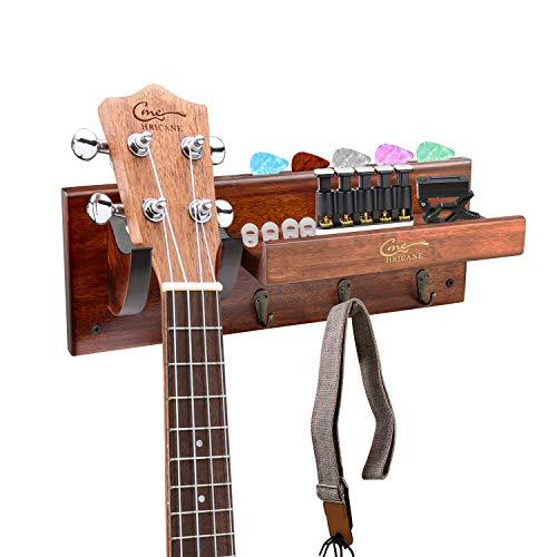 Hricane Guitar Hanger Wall Mount, Ukulele Hardwood Hook for Bass Electric Acoustic Violin Mandolin Banjo, Guitar Holder with Pick Slot and 3 Hooks