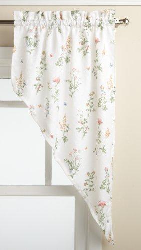 LORRAINE HOME FASHIONS English Garden 55-inch x 38-inch Swag Pair, White/Multi
