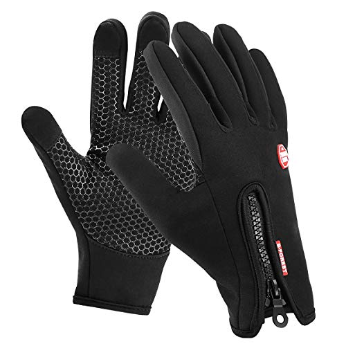 Motenik Handschuhe Winter Herren Damen Laufhandschuhe Touchscreen Sport Thermo Touchscreen Fahrradhandschuhe, Winddicht und Wasserdicht Handschuhe