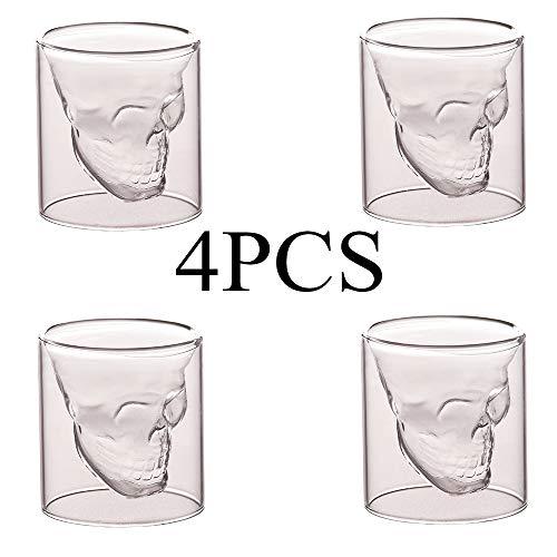 Kreativer Schädel-Schnapsglasbecher, hergestellt aus hochwertigem, transparentem, haltbarem 3D-Formular mit großer Kapazität, 250 ml Isolationsdesign, leicht zu reinigen, für die Themenparty-Leiste