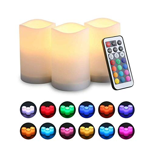 Bravich LED Flameless Real Wax Candle 3 x Weatherproof Outdoor and Indoor Colour Changing LED Candles with Remote Control & Timer - Vanilla Scent